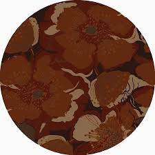 country floral augustus collection area rug in brick and oval