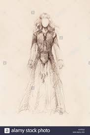 woman drawing in ornamental dress pencil sketch on paper sepia