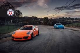 porsche 911 gt3 front orange gt3 front side view and blue porsche 911 gt3 on hre wheel