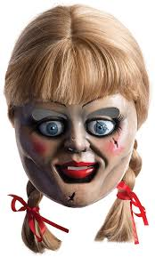 halloween baby face mask amazon com annabelle horror mask with wig multi one size clothing