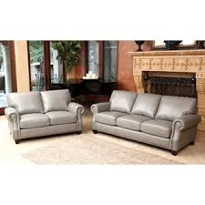 Leather Couches And Loveseats Abbyson Landon Top Grain Leather Sofa Free Shipping Today