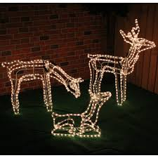 Christmas Reindeer Garden Decorations by Christmas Concepts Large Animated Rope Light Reindeer Family