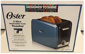 Oster 2 Slice Toaster Oster 2 Slice Retractable Cord Toaster Metallic Blue