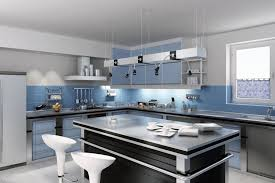 white kitchen cabinets blue backsplash modern barstools kitchen