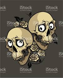 two smile skulls with roses stock vector more images of