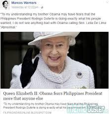 Queen Elizabeth Meme - busted queen elizabeth ii hinted that obama is scared of duterte