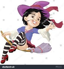 background on halloween vector illustration little witch says hello stock vector 84404599