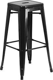 bar stool outdoor amazon com flash furniture 30 high backless black metal indoor