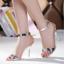 summer dress sandals silver stiletto heels genuine leather