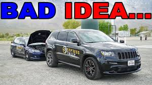 jeep subaru jeep srt8 races built subaru in front of cop youtube