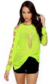 neon blouse neon green sweater cold shoulder top 58 00