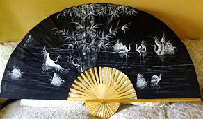 Asian Wall Fans by Large Antique Silk Fan Hand Painted Egrets White Painting Black
