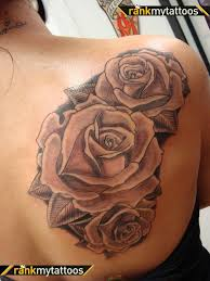beautiful black blooming roses shoulder upper arms tattoos for