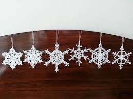 6 white crochet christmas decorations snowflake ornaments wall