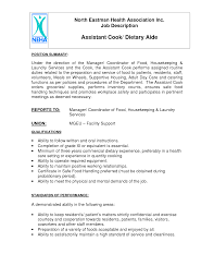 Cook Job Description For Resume by Company With Dietary Aide Jobs Living Branches Dietary Aide Job