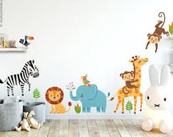 Jungle Wall Decal For Nursery Monkey Wall Decal Etsy