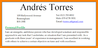 personal profile resume examples cv personal profile for teaching