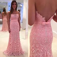 gorgeous lace zipper mermaid pink pearls strapless prom dress 2017