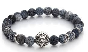 fashion stone bracelet images Blue gray natural stone bracelet with silver lion the gentleman PNG