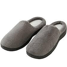 Bedroom Slippers For Men   amazon com house slippers for men mens memory foam coral fleece