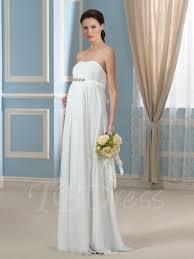 maternity wedding dresses strapless beading empire waist chiffon pregnancy maternity wedding