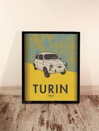 turin print italy cityscape car poster home decor wall decor