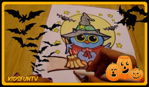 halloween speed color of owl dressed as witch coloring page for