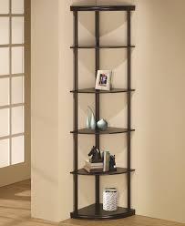 coaster bookcases corner bookshelf in dark finish value city