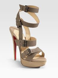 christian louboutin toutenkaboucle strappy canvas sandals in brown
