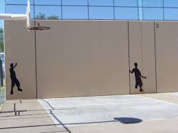 stylish basketball court cost outdoor with mural sport design
