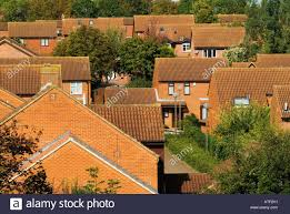 red homes traditional modern red brick family homes milton keynes stock