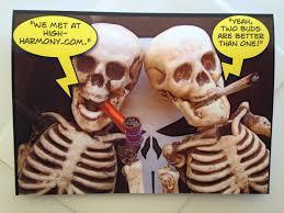 Funny Halloween Birthday Funny Pot Smoking Skeleton Card Novelty Card Pot Smokers