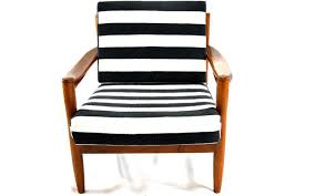 Contemporary Armchairs Furniture Brown Wooden Mid Century Chair With Striped Seat And