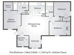 2 Room Flat Floor Plan 3 Bedroom Apartment Floor Plans U0026 Pricing U2013 Ashton Chase Clermont Fl