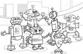 robots group cartoon coloring u2014 stock vector izakowski