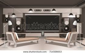 Home Cinema Interior Design Modern Home Cinema Interior 3d Design Stock Vector 714506653