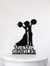 weight lifting cake topper personalized wedding cake topper weight lifting crossfitters