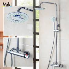 popular shower bath mixer taps buy cheap shower bath mixer taps bathroom contemporary 8 inch 53953 thermostatic rainfall shower head bathroom bath shower mixer taps shower faucet