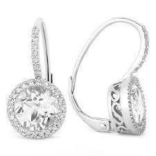 leverback diamond earrings 14k white gold white topaz and diamond halo leverback earrings