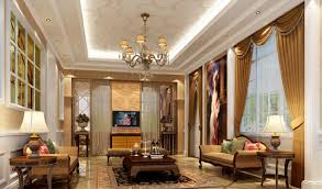 modern european style interior design suspended ceiling and walls