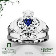 claddagh wedding ring sets cashel white gold sapphire wedding set claddagh jewellers