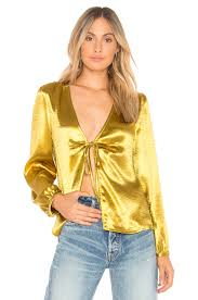 metallic gold blouse button front gold top revolve