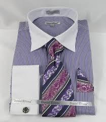 daniel ellissa ds3775 purple men u0027s french cuff dress shirt bold