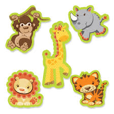 24 pc small safari jungle shaped paper cut outs baby shower