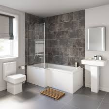 Furniture Bathroom Suites 1700x850mm Belfort L Shaped Left Handed Shower Bath Suite 6mm