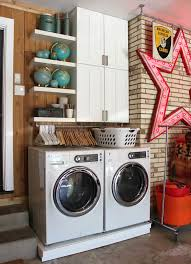 retractable clothes hanger laundry room eclectic with brick walls