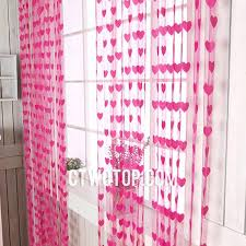 funky door rose red heart patterned sheer curtains