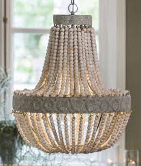 decor wondrous large wood beaded chandelier grey stained with