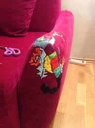 How To Make A Slipcover For A Sleeper Sofa by Cat Scratched A Hole In My Sofa I Had To Fix It Somehow Brico