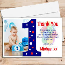 10 personalised boys first 1st birthday thank you photo cards n191